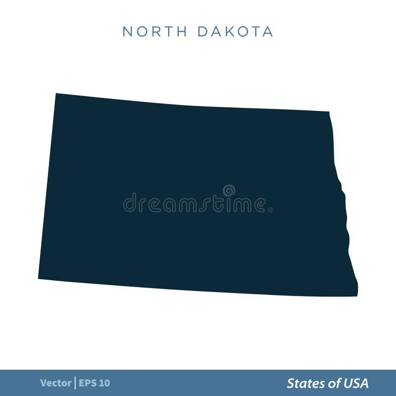 Βόρεια Ντακότα - κράτη του διανυσματικού σχεδίου απεικόνισης προτύπων εικονιδίων αμερικανικών χαρτών r ελεύθερη απεικόνιση δικαιώματος