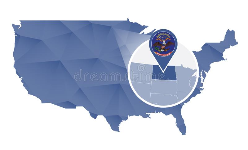 Βόρεια Ντακότα κράτος που ενισχύεται στον Ηνωμένο χάρτη διανυσματική απεικόνιση