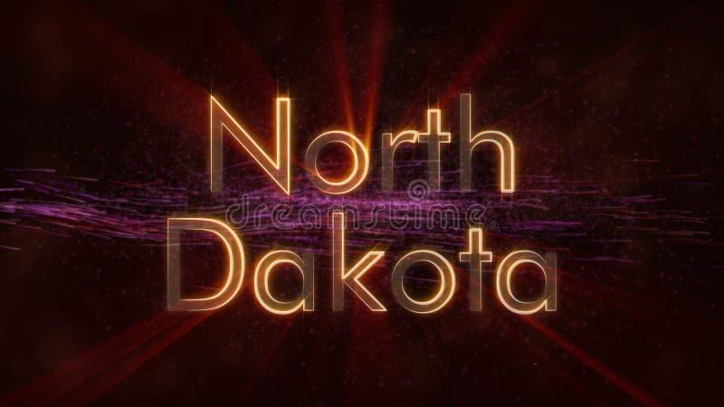 Βόρεια Ντακότα - λαμπρή ζωτικότητα κειμένων κρατικού ονόματος περιτύλιξης απεικόνιση αποθεμάτων