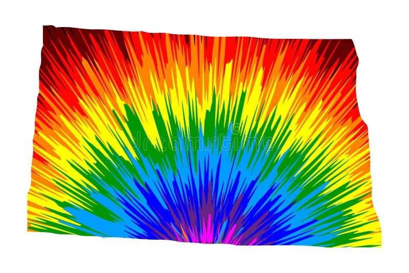 Βόρεια Ντακότα - ο χάρτης είναι σχεδιασμένο αφηρημένο ζωηρόχρωμο σχέδιο ουράνιων τόξων ελεύθερη απεικόνιση δικαιώματος