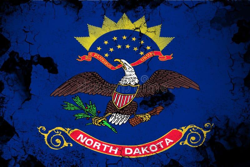 Βόρεια Ντακότα σκουριασμένη και grunge απεικόνιση σημαιών ελεύθερη απεικόνιση δικαιώματος