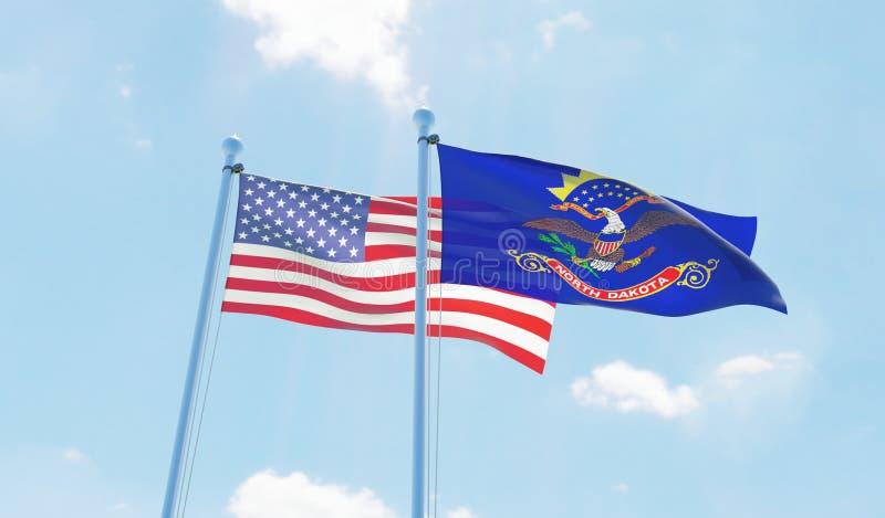 Βόρεια Ντακότα των ΗΠΑ και κράτους, δύο σημαίες που κυματίζει ενάντια στο μπλε ουρανό απεικόνιση αποθεμάτων