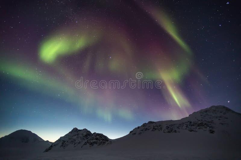Βόρεια φω'τα στον αρκτικό ουρανό - Spitsbergen, Svalbard στοκ εικόνα