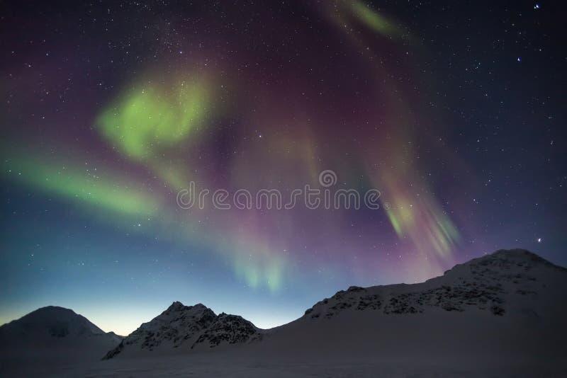 Βόρεια φω'τα στον αρκτικό ουρανό - Spitsbergen, Svalbard στοκ φωτογραφία με δικαίωμα ελεύθερης χρήσης
