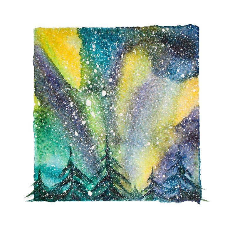Βόρεια φω'τα Watercolor, απομονωμένος βόρειος ουρανός με snowflakes τη νύχτα ελεύθερη απεικόνιση δικαιώματος