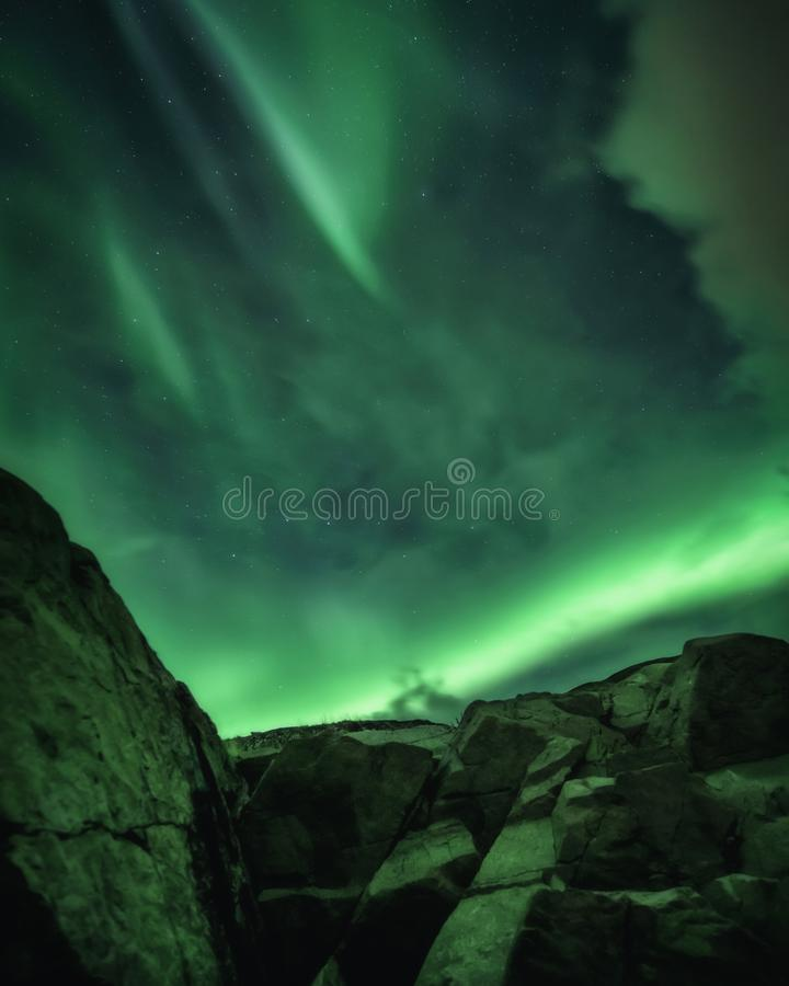 Βόρεια φώτα, Aurora Borealis στη χερσόνησο Κόλα στοκ εικόνες με δικαίωμα ελεύθερης χρήσης