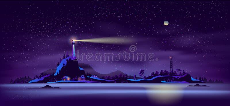 Βόρειο διάνυσμα κινούμενων σχεδίων τοπίων νύχτας ακτών διανυσματική απεικόνιση