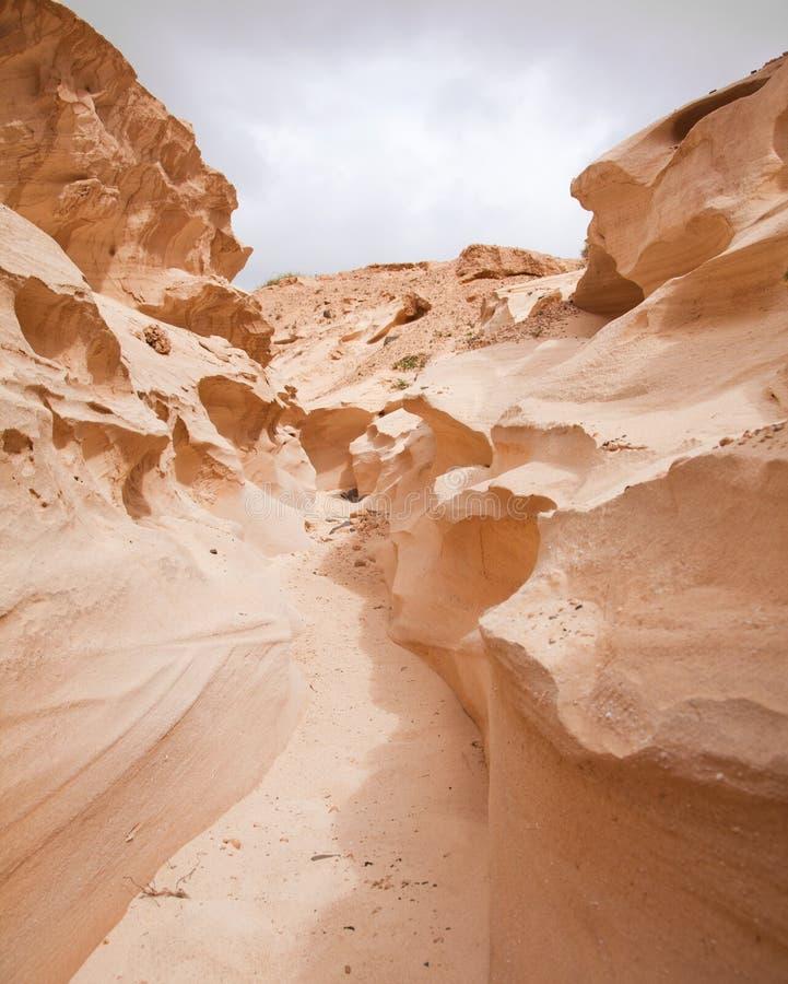 Βόρειο εσωτερικό Fuerteventura, Barranco de Los Enamorados στοκ εικόνες
