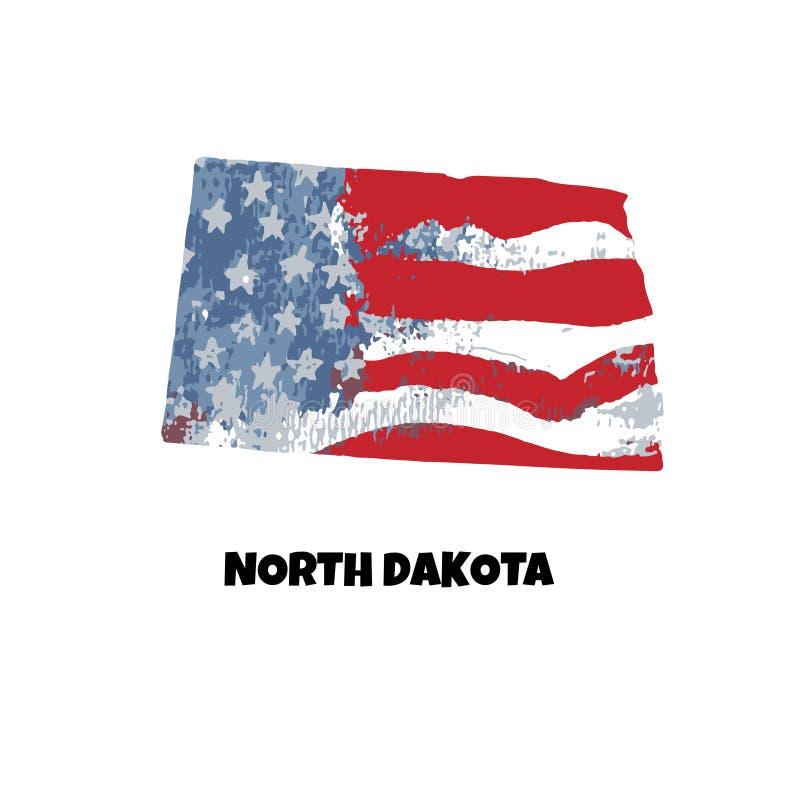 βόρειο κράτος της Ντακότα&s η Αμερική δηλώνει ενωμένο διανυσματική απεικόνιση