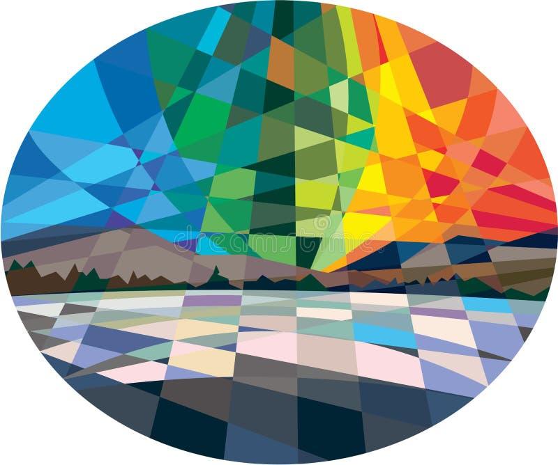 Βόρειο χαμηλό πολύγωνο Borealis αυγής φω'των διανυσματική απεικόνιση
