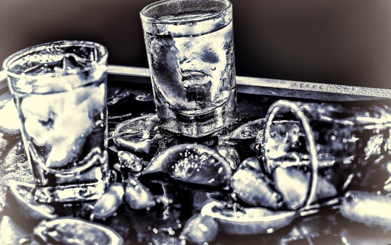 Βότκα κινηματογραφήσεων σε πρώτο πλάνο, τζιν, τονωτικό, tequila στοκ φωτογραφίες με δικαίωμα ελεύθερης χρήσης