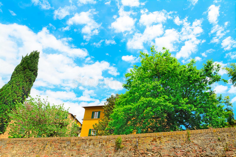 Βλάστηση και αρχαία κτήρια στη Σιένα στοκ φωτογραφία με δικαίωμα ελεύθερης χρήσης