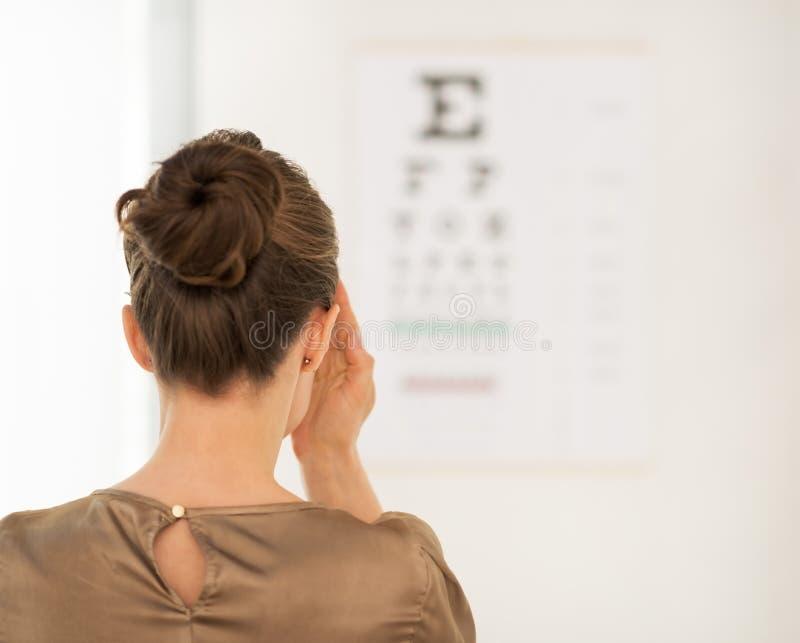 Βλέποντας από το πίσω εξεταστικό όραμα γυναικών με το διάγραμμα Snellen στοκ φωτογραφίες με δικαίωμα ελεύθερης χρήσης
