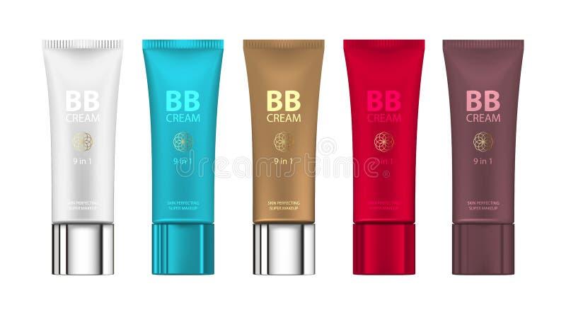 Β Β κρέμα στο διαφορετικό χρώμα των συσκευασιών Διανυσματική απεικόνιση των ρεαλιστικών συσκευασιών των σωλήνων ιδρύματος makeup απεικόνιση αποθεμάτων