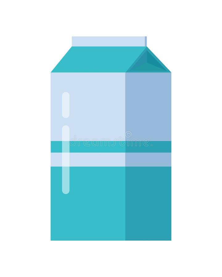 Γάλακτος συσκευασία χαρτοκιβωτίων που απομονώνεται μπλε διανυσματική απεικόνιση