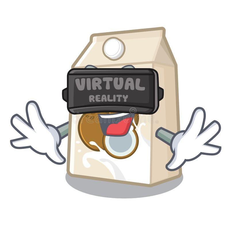 Γάλα εικονικής πραγματικότητας cococnut στη μορφή μασκότ ελεύθερη απεικόνιση δικαιώματος