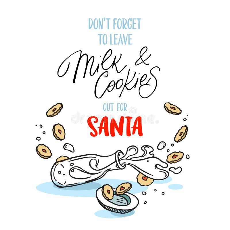 Γάλα και μπισκότα προτύπων αφισών για Santa απεικόνιση αποθεμάτων