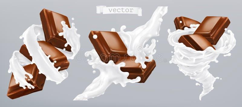 Γάλα και σοκολάτα, τρισδιάστατο διανυσματικό εικονίδιο διανυσματική απεικόνιση