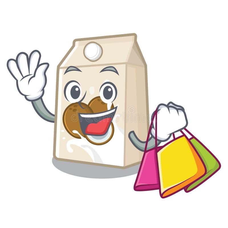 Γάλα καρύδων αγορών που απομονώνεται με το χαρακτήρα απεικόνιση αποθεμάτων