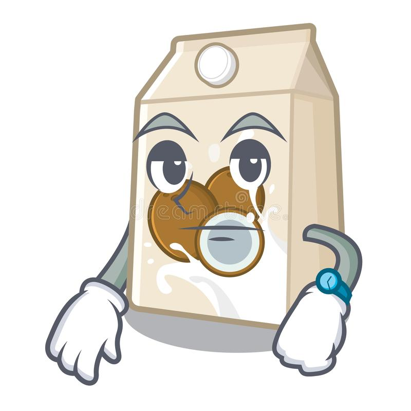 Γάλα καρύδων αναμονής που χύνεται στο γυαλί κινούμενων σχεδίων απεικόνιση αποθεμάτων