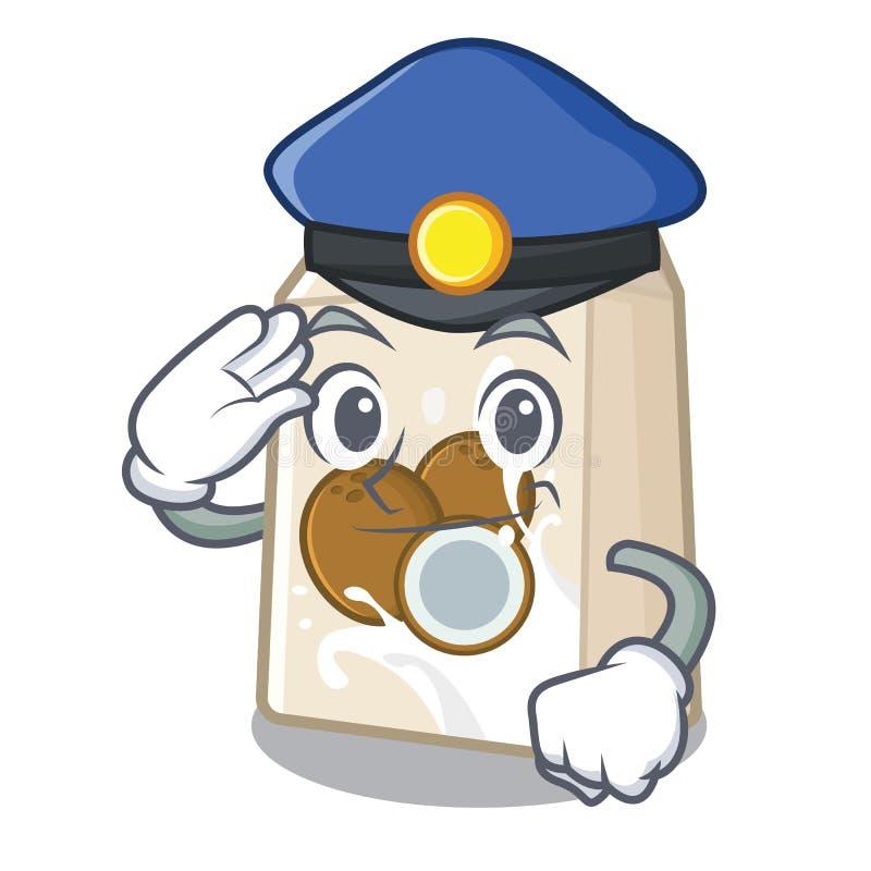 Γάλα καρύδων αστυνομίας σε ένα μπουκάλι κινούμενων σχεδίων διανυσματική απεικόνιση