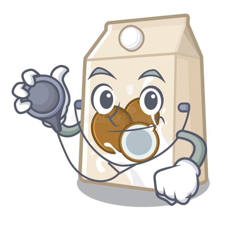 Γάλα καρύδων γιατρών σε ένα μπουκάλι κινούμενων σχεδίων ελεύθερη απεικόνιση δικαιώματος