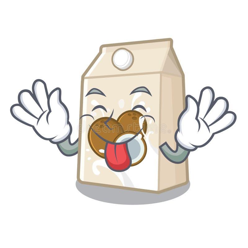 Γάλα καρύδων γλωσσών έξω που χύνεται στο γυαλί κινούμενων σχεδίων διανυσματική απεικόνιση