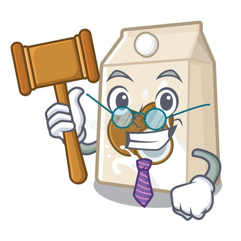 Γάλα καρύδων δικαστών που χύνεται στο γυαλί κινούμενων σχεδίων απεικόνιση αποθεμάτων