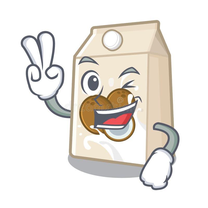 Γάλα καρύδων δύο δάχτυλων που απομονώνεται με το χαρακτήρα ελεύθερη απεικόνιση δικαιώματος