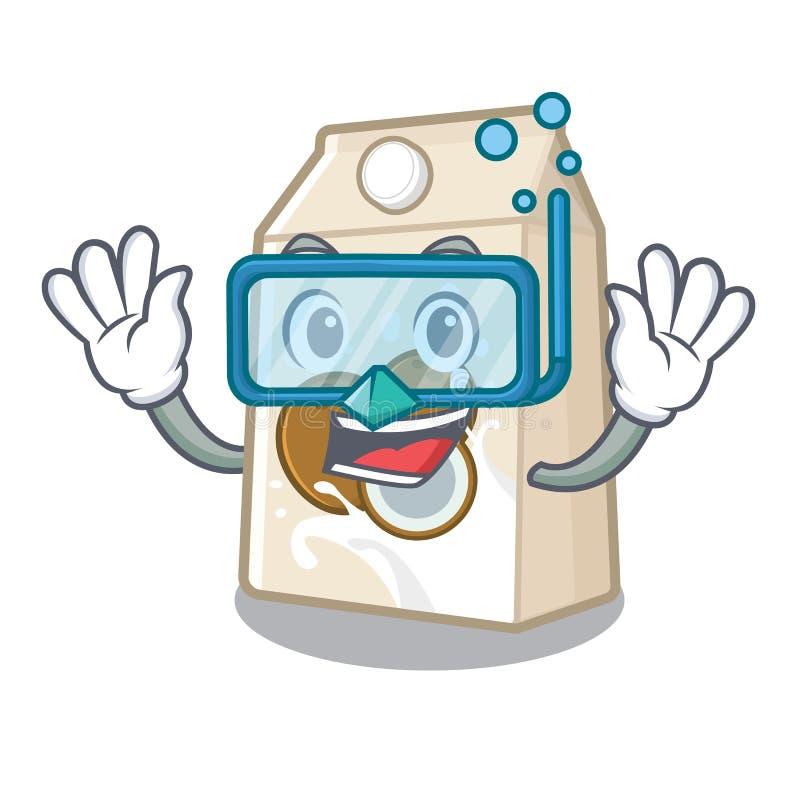 Γάλα καρύδων κατάδυσης που απομονώνεται με το χαρακτήρα διανυσματική απεικόνιση