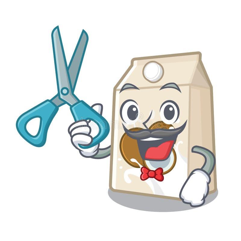 Γάλα καρύδων κουρέων σε ένα μπουκάλι κινούμενων σχεδίων ελεύθερη απεικόνιση δικαιώματος