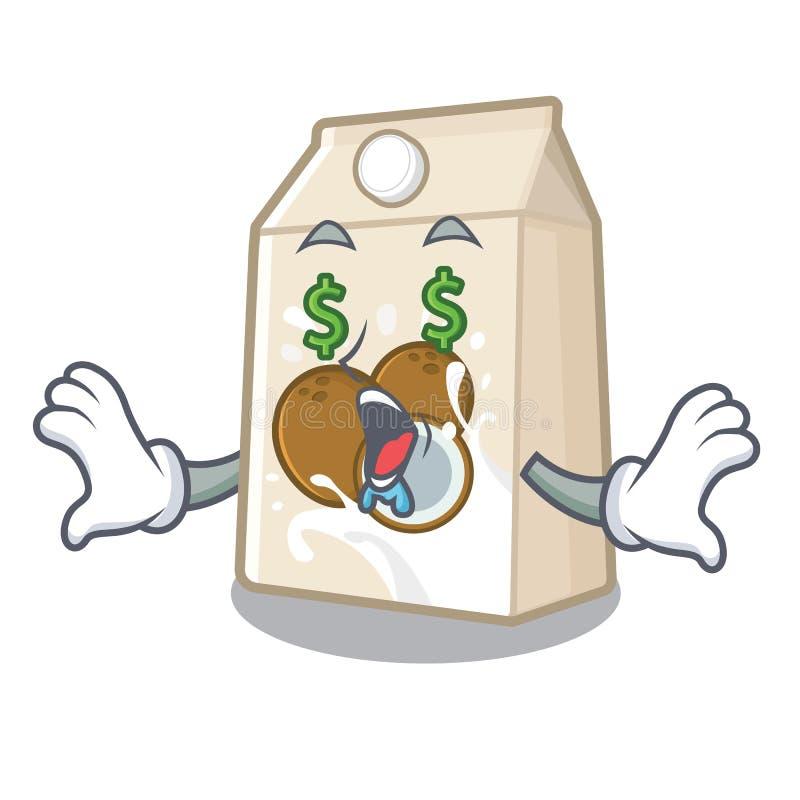 Γάλα καρύδων ματιών χρημάτων που χύνεται στο γυαλί κινούμενων σχεδίων ελεύθερη απεικόνιση δικαιώματος