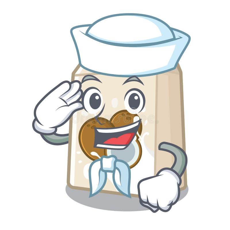 Γάλα καρύδων ναυτικών σε ένα μπουκάλι κινούμενων σχεδίων διανυσματική απεικόνιση