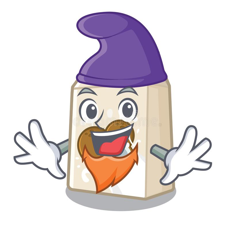 Γάλα καρύδων νεραιδών σε ένα μπουκάλι κινούμενων σχεδίων απεικόνιση αποθεμάτων