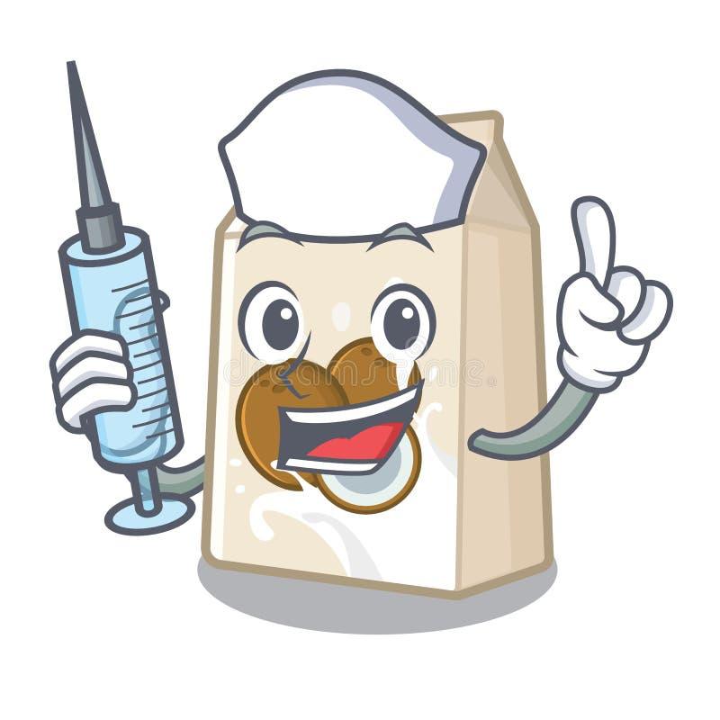Γάλα καρύδων νοσοκόμων που απομονώνεται με το χαρακτήρα απεικόνιση αποθεμάτων