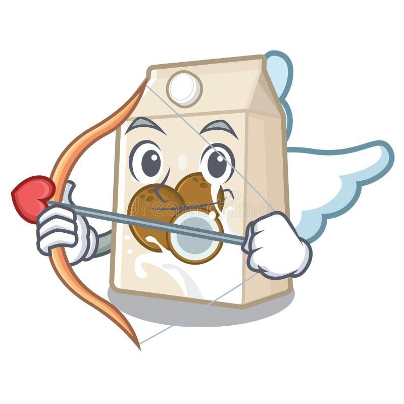 Γάλα καρύδων Cupid σε ένα μπουκάλι κινούμενων σχεδίων διανυσματική απεικόνιση