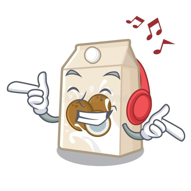 Γάλα μουσικής ακούσματος cococnut στη μορφή μασκότ ελεύθερη απεικόνιση δικαιώματος