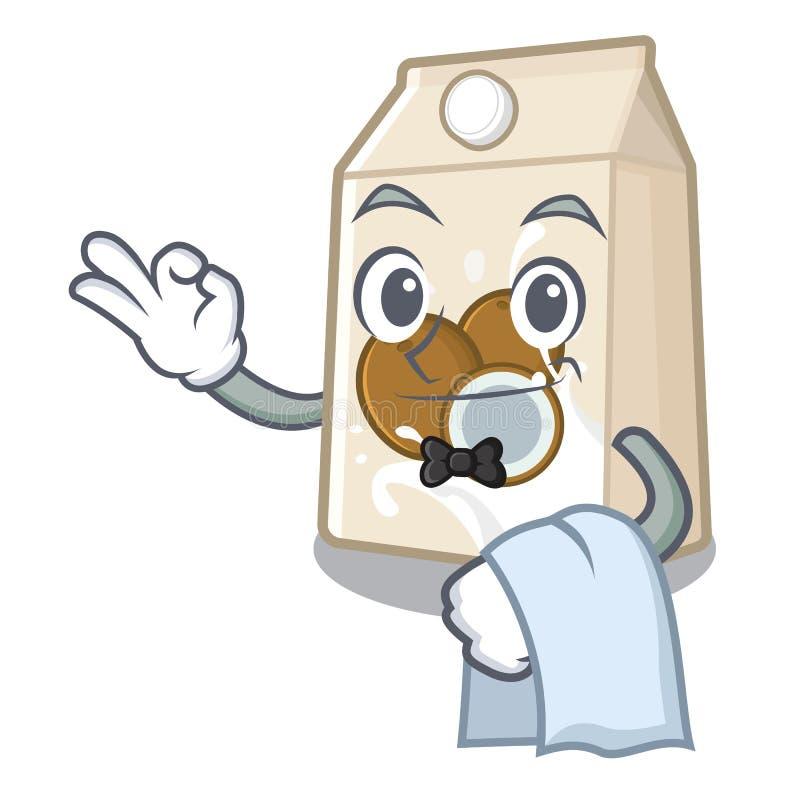 Γάλα σερβιτόρων cococnut στη μορφή μασκότ ελεύθερη απεικόνιση δικαιώματος