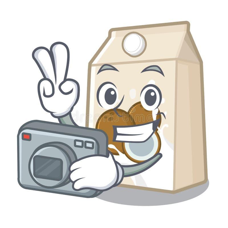 Γάλα φωτογράφων cococnut στη μορφή μασκότ ελεύθερη απεικόνιση δικαιώματος