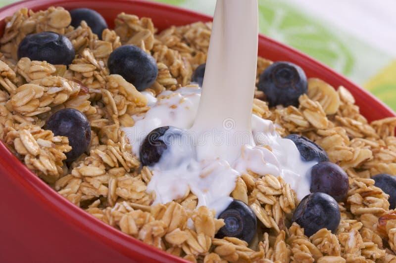 γάλα granola κύπελλων βακκινίων στοκ φωτογραφία