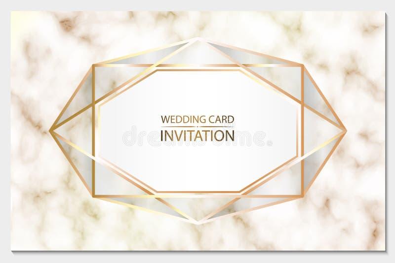 γάμος απεικόνισης καρτών αφαίρεσης διάνυσμα Άσπρη ανασκόπηση Λεπτομερής σύσταση του μαρμάρου Κοκκώδης επιφάνεια Χρυσό γεωμετρικό  διανυσματική απεικόνιση