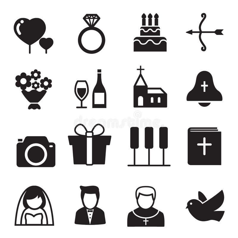 Γάμος εικονιδίων σκιαγραφιών, νύφη και νεόνυμφος, αγάπη, εορτασμός απεικόνιση αποθεμάτων