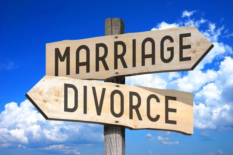 Γάμος, διαζύγιο - ξύλινο καθοδηγήστε ελεύθερη απεικόνιση δικαιώματος
