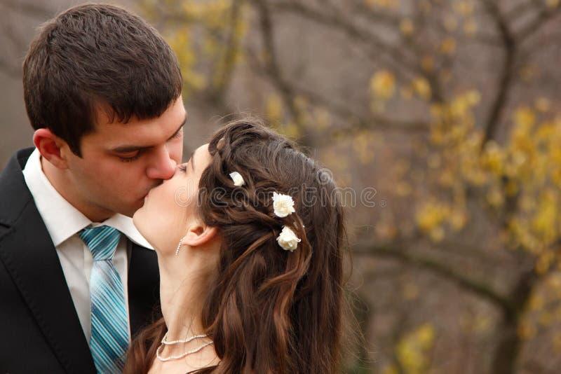 Γάμος, νέα νύφη φιλιών νεόνυμφων ερωτευμένη πέρα από τη φύση φθινοπώρου backg στοκ φωτογραφία