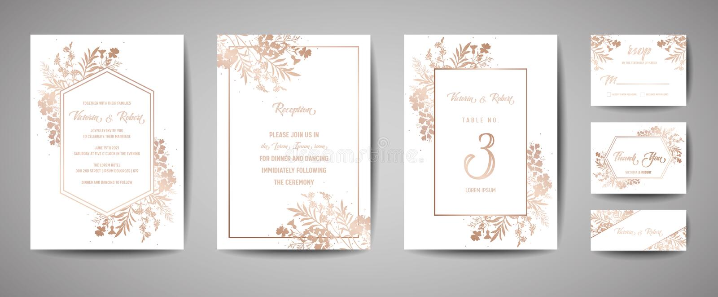 Γάμος πολυτέλειας εκτός από την ημερομηνία, συλλογή καρτών ναυτικού πρόσκλησης με τα χρυσά λουλούδια φύλλων αλουμινίου και τα φύλ διανυσματική απεικόνιση