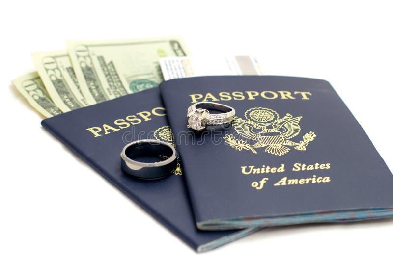Γάμος προορισμού ΑΜΕΡΙΚΑΝΙΚΩΝ διαβατηρίων στοκ εικόνα