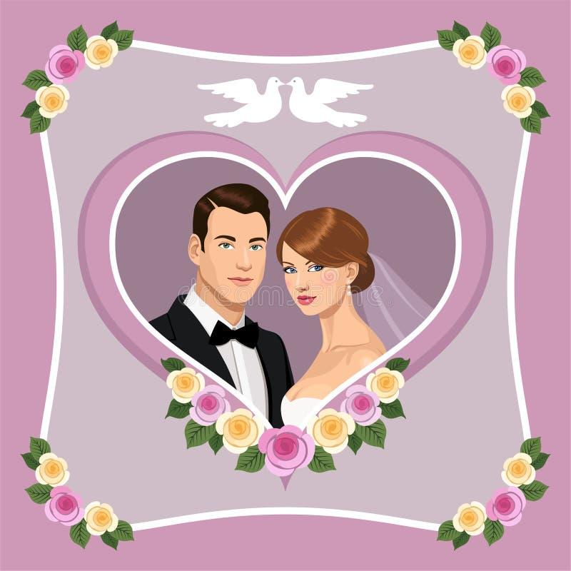 γάμος τριαντάφυλλων πρόσκλησης ελεύθερη απεικόνιση δικαιώματος