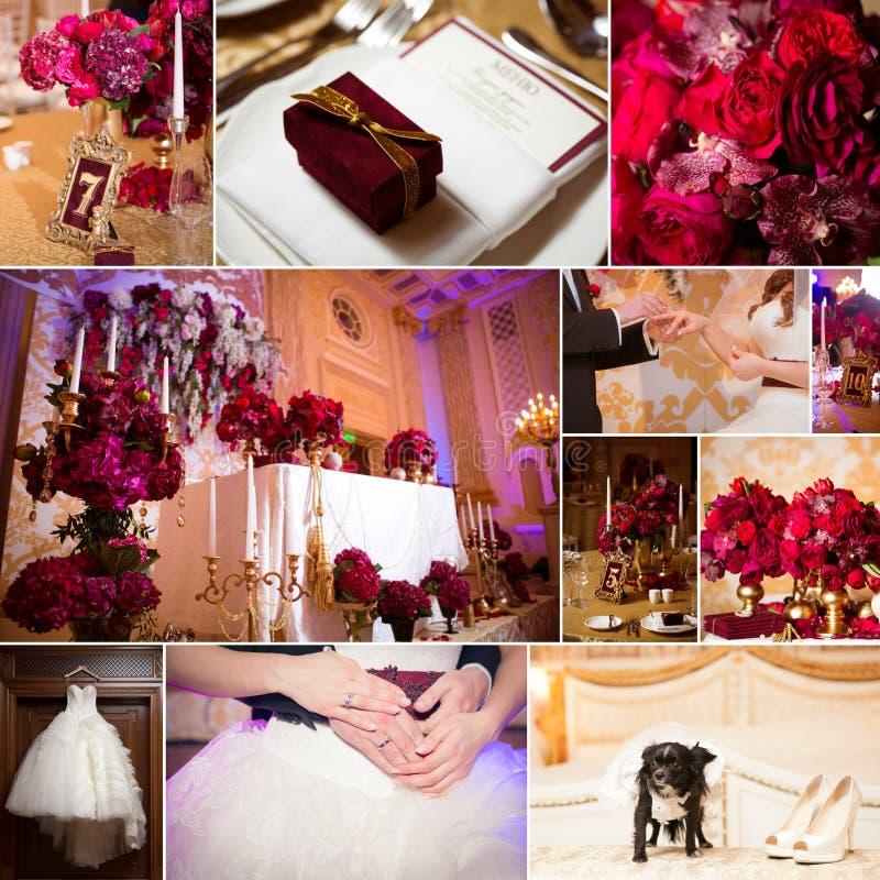 γάμος φωτογραφιών κολάζ Νυφική ανθοδέσμη, φόρεμα, όμορφη διακόσμηση, λουλούδια και floral, τελετή στοκ εικόνα με δικαίωμα ελεύθερης χρήσης