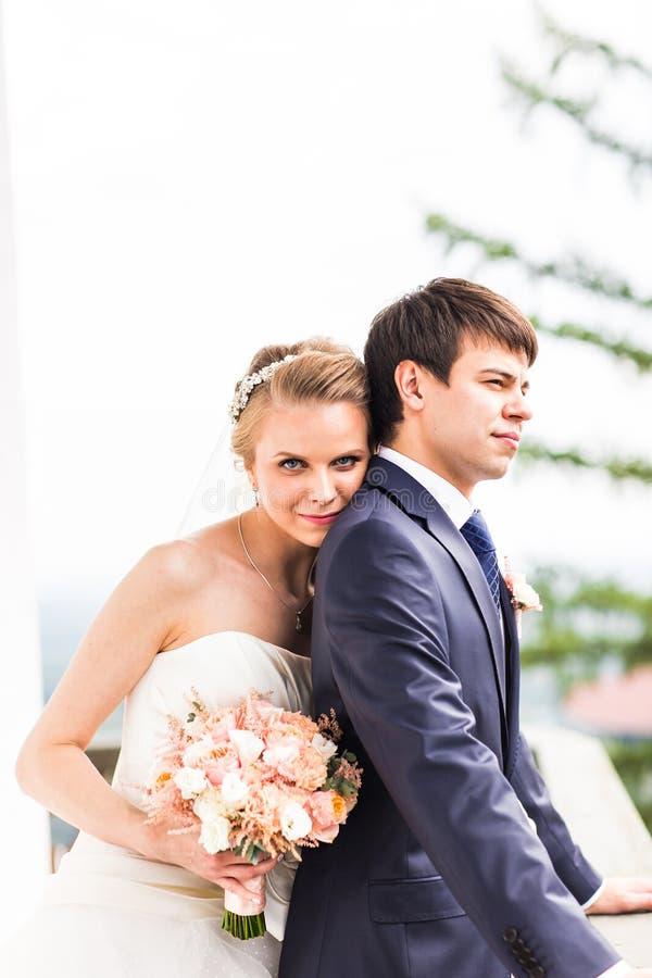 Γάμος, όμορφη ρομαντική στιγμή της νύφης και του νεόνυμφου στοκ εικόνα με δικαίωμα ελεύθερης χρήσης
