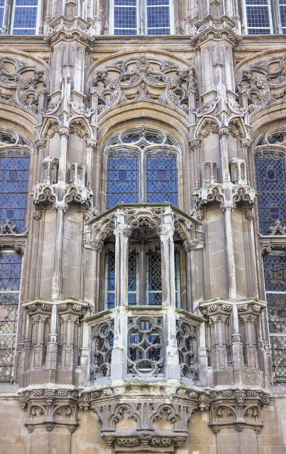 Γάνδη, Βέλγιο - ένα τεμάχιο της γοτθικής πρόσοψης του Δημαρχείου στοκ εικόνα